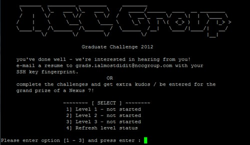 NCC Group Graduate Cyber Security Challenge