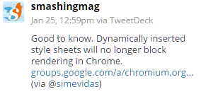 Tweet from @smashingmag about Chrome update
